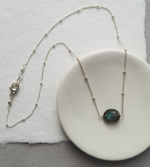 Oval labradorite stone choker handcrafted by Carrie Whelan Designs