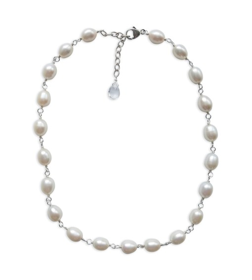 Freshwater pearl collar necklace hand wrapped in silver by Carrie Whelan Designs