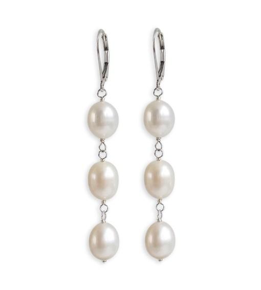 Triple Drop Pearl Earrings handcrafted in sterling silver by Carrie Whelan Designs
