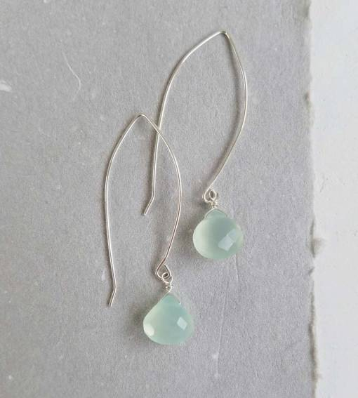 Aqua chalcedony long wire earrings in sterling silver handcrafted by Carrie Whelan Designs