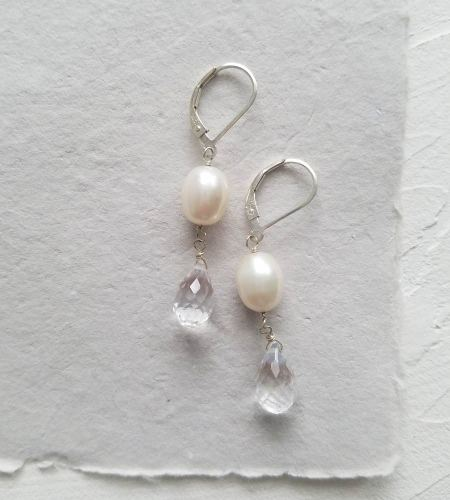 Freshwater pearl and gemstone teardrop earrings from Carrie Whelan Designs