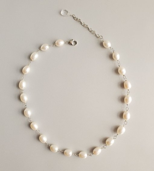 Handcrafted freshwater pearl collar necklace in sterling silver for weddings by Carrie Whelan Designs