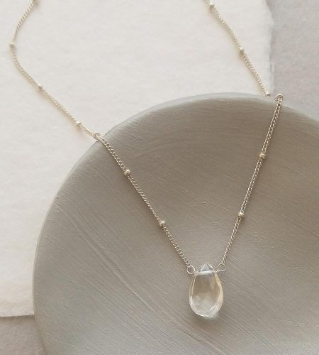 Clear quartz gemstone choker necklace handcrafted in sterling silver by Carrie Whelan Designs