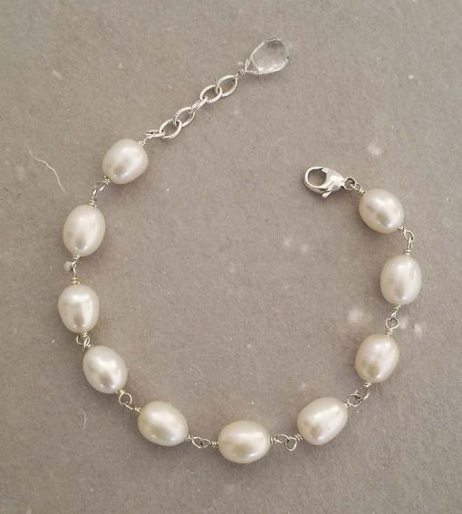 Large freshwater pearl chain bracelet in sterling silver wrapped by Carrie Whelan Designs