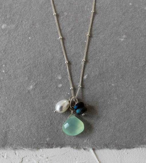 Aqua chalcedony and labradorite gemstone cluster necklace handcrafted by Carrie Whelan Designs