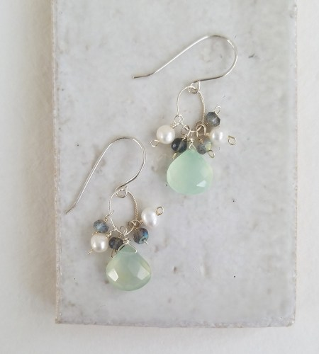 Aqua and labradorite cluster earrings handmade by Carrie Whelan Designs