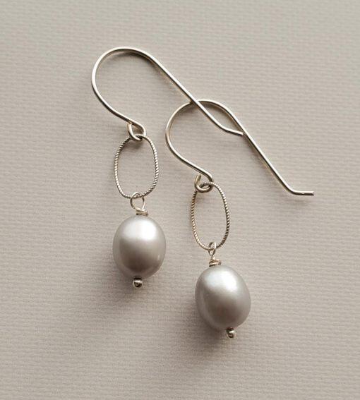 Gray oval pearl drop earrings handmade in silver by Carrie Whelan Designs
