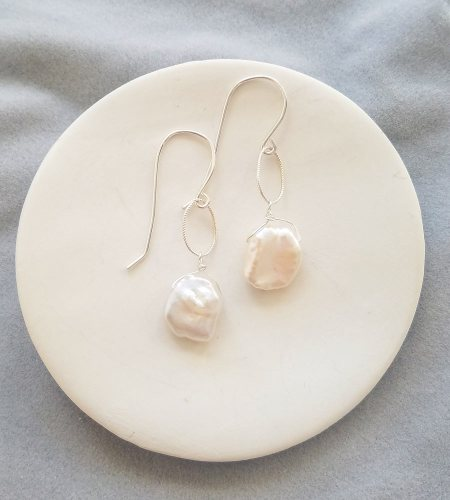 Keshi pearl earrings in sterling silver handmade by Carrie Whelan Designs