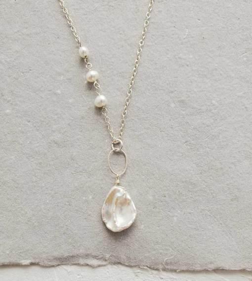 Long keshi pearl pendant handmade in sterling silver by Carrie Whelan Designs