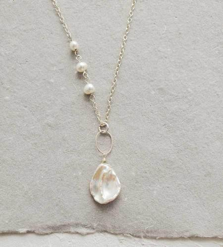 Long keshi pearl pendant handmade in sterling silver by Carrie Whelan Designs