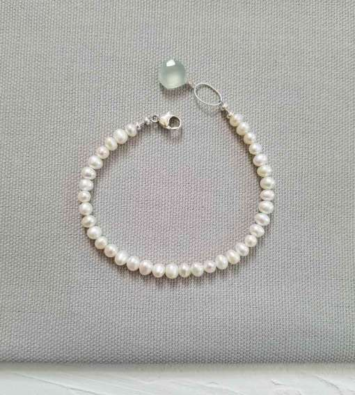 Pearl bracelet with aqua drop accent handmade for weddings by Carrie Whelan Designs