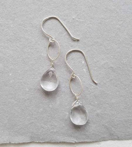Rock quartz silver drop earrings handmade by Carrie Whelan Designs