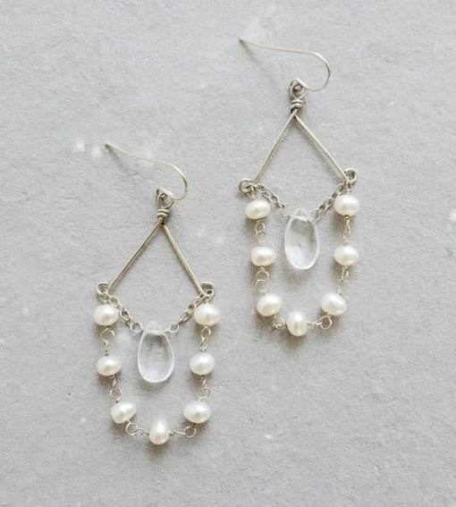 Delicate freshwater pearl chandelier earrings handmade in silver by Carrie Whelan Designs