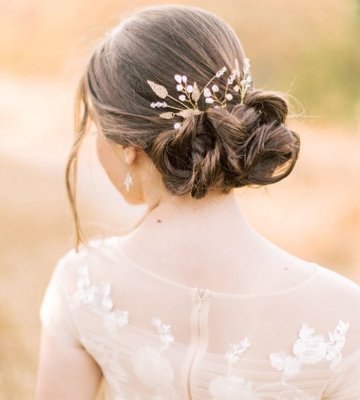 Handmade romantic pearl floral hair pin set for bride by Carrie Whelan Designs