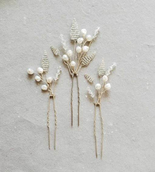 Silver leaf and pearl hair pin set for bride by Carrie Whelan Designs