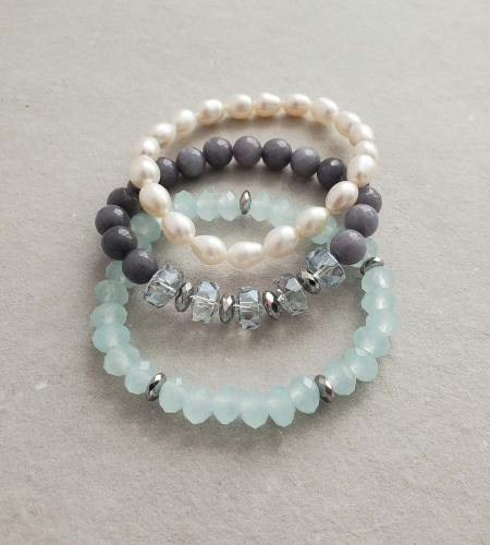 aqua blue & freshwater pearl stack bracelets handmade by Carrie Whelan Designs