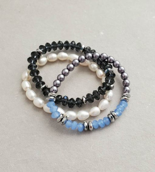 Silver pearl and navy crystal stack bracelets handmade by Carrie Whelan Designs
