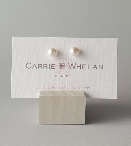 Dainty freshwater pearl studs handmade by Carrie Whelan Designs