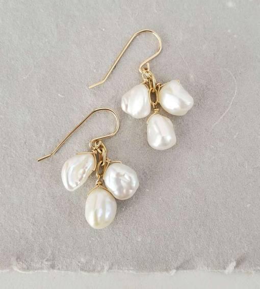 Short keshi pearl cluster earrings in 14kt gold handmade by Carrie Whelan Designs