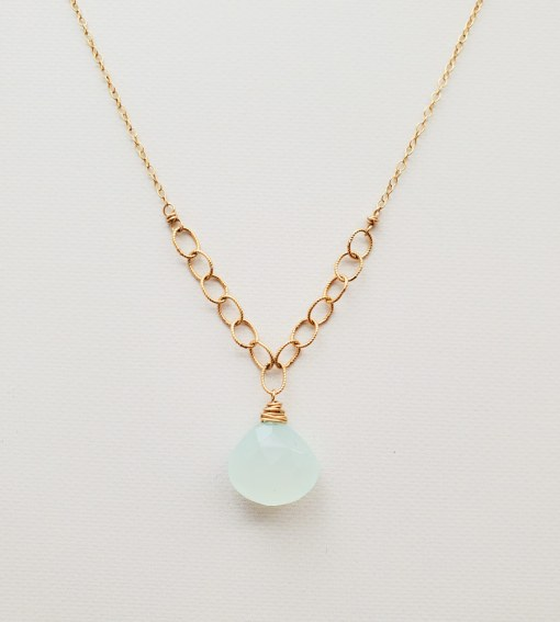 Aqua chalcedony and gold twisted chain necklace handmade By Carrie Whelan Designs
