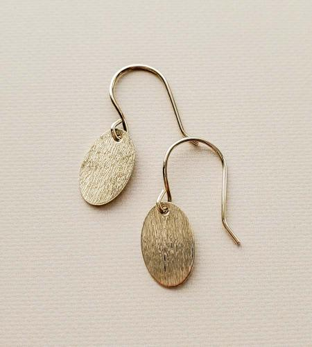 Brushed silver oval earrings handmade by Carrie Whelan Designs