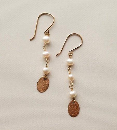 Freshwater pearl & gold charm earrings handmade by Carrie Whelan Designs