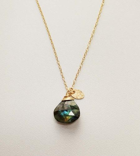 Labradorite and gold charm pendant necklace handcrafted by Carrie Whelan Designs