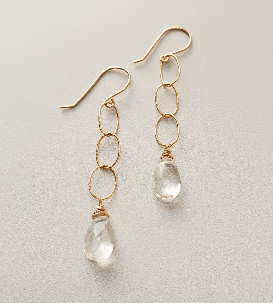 Rock quartz and oval chain earrings in gold handmade by Carrie Whelan Designs