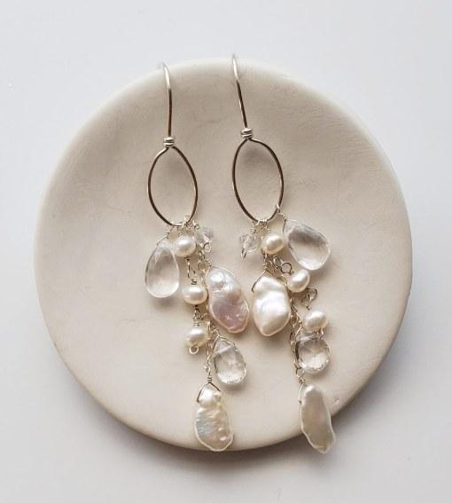 Boho chic bridal hoop earrings in sterling silver handmade Carrie Whelan Designs