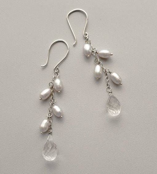 Gray freshwater pearl and quartz drop earrings handmade by Carrie Whelan Designs