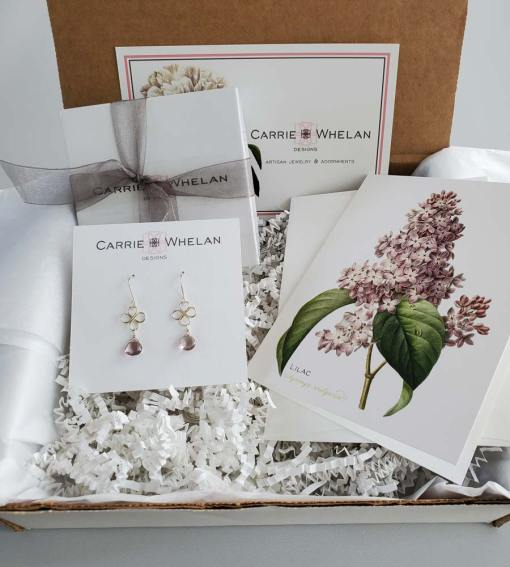 Handcrafted botanical gemstone earring monthly subscription from May by Carrie Whelan Designs
