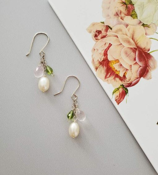 Pearl, gemstone & sterling silver earrings handcrafted for monthly earring subscription from Carrie Whelan Designs