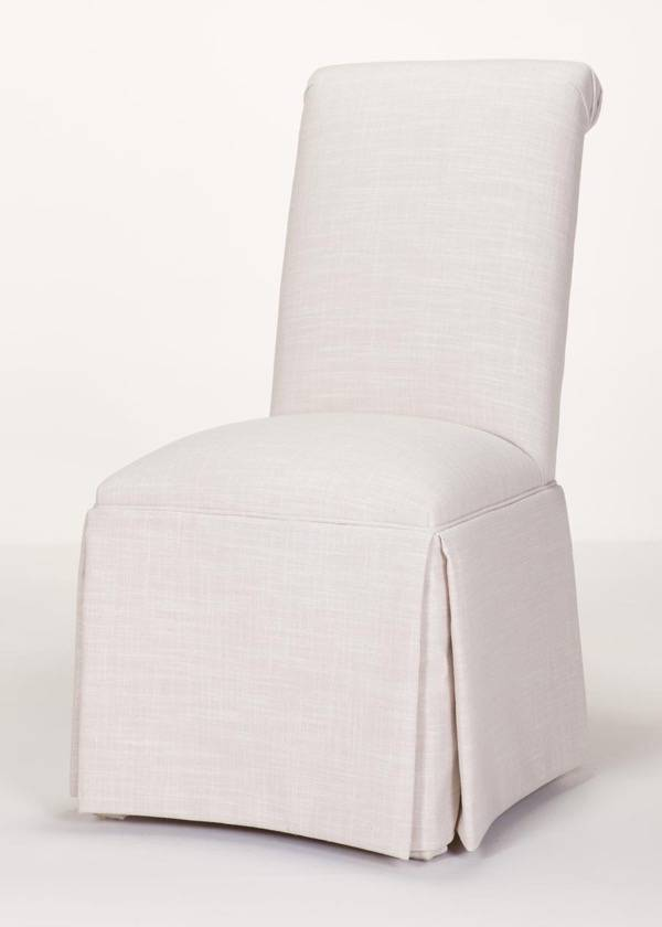 parson chairs covers modern outdoor custom delivered in days - scroll back chair with kick-pleat skirt