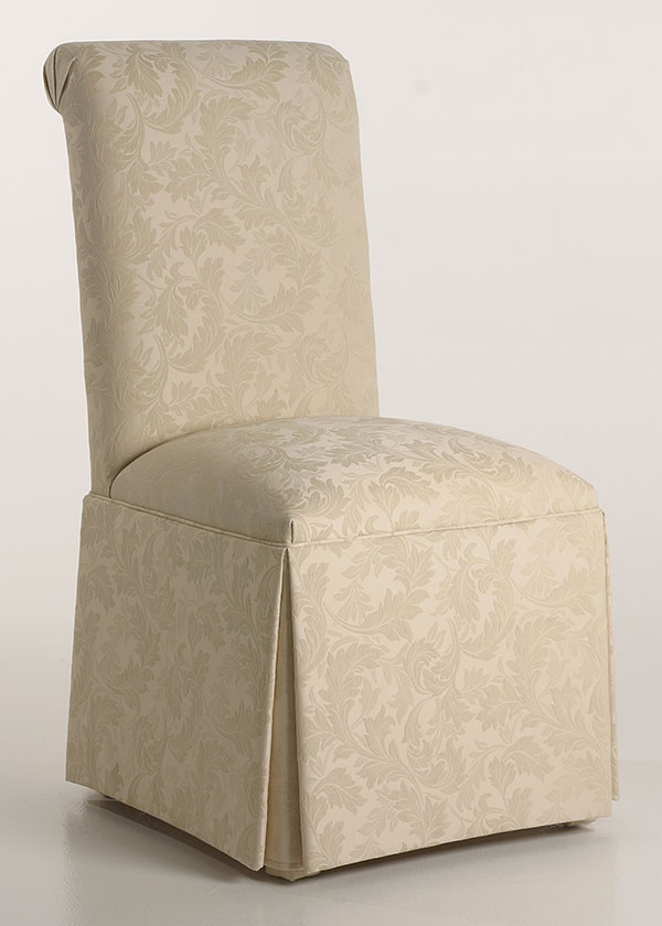 Scroll Back Parson Chair with KickPleat Skirt