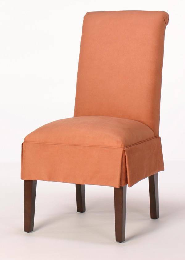 parsons chairs with skirt brown leather tub chair solid oak legs rolled back dining half