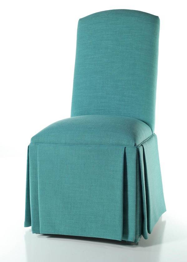 parsons chairs with skirt oversized ottomans crescent back chair triple pleat custom fabric buy
