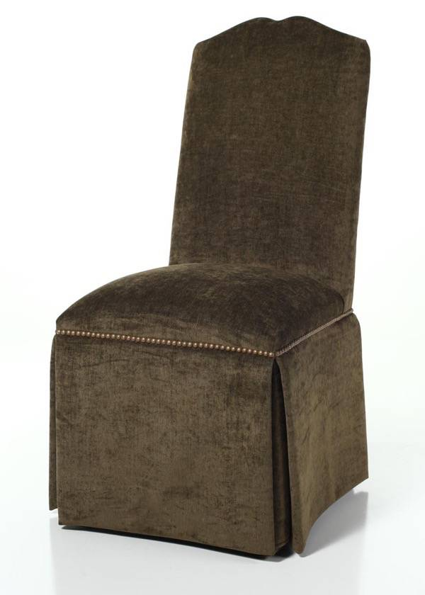 Salem Parsons Chair  Skirted Parsons Chair with Nailhead Trim