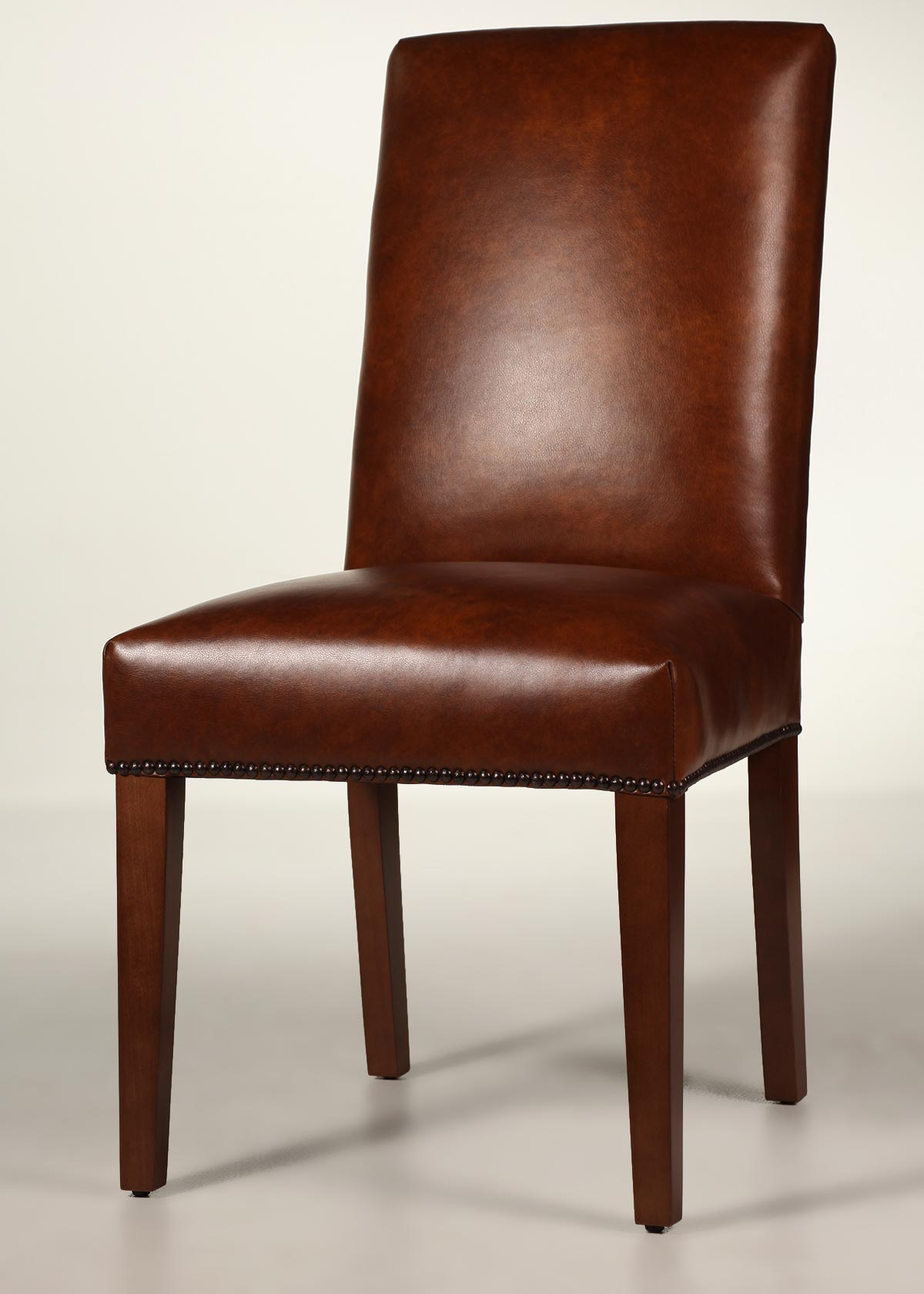 Straight Back Leather Dining Chair with Tapered Legs