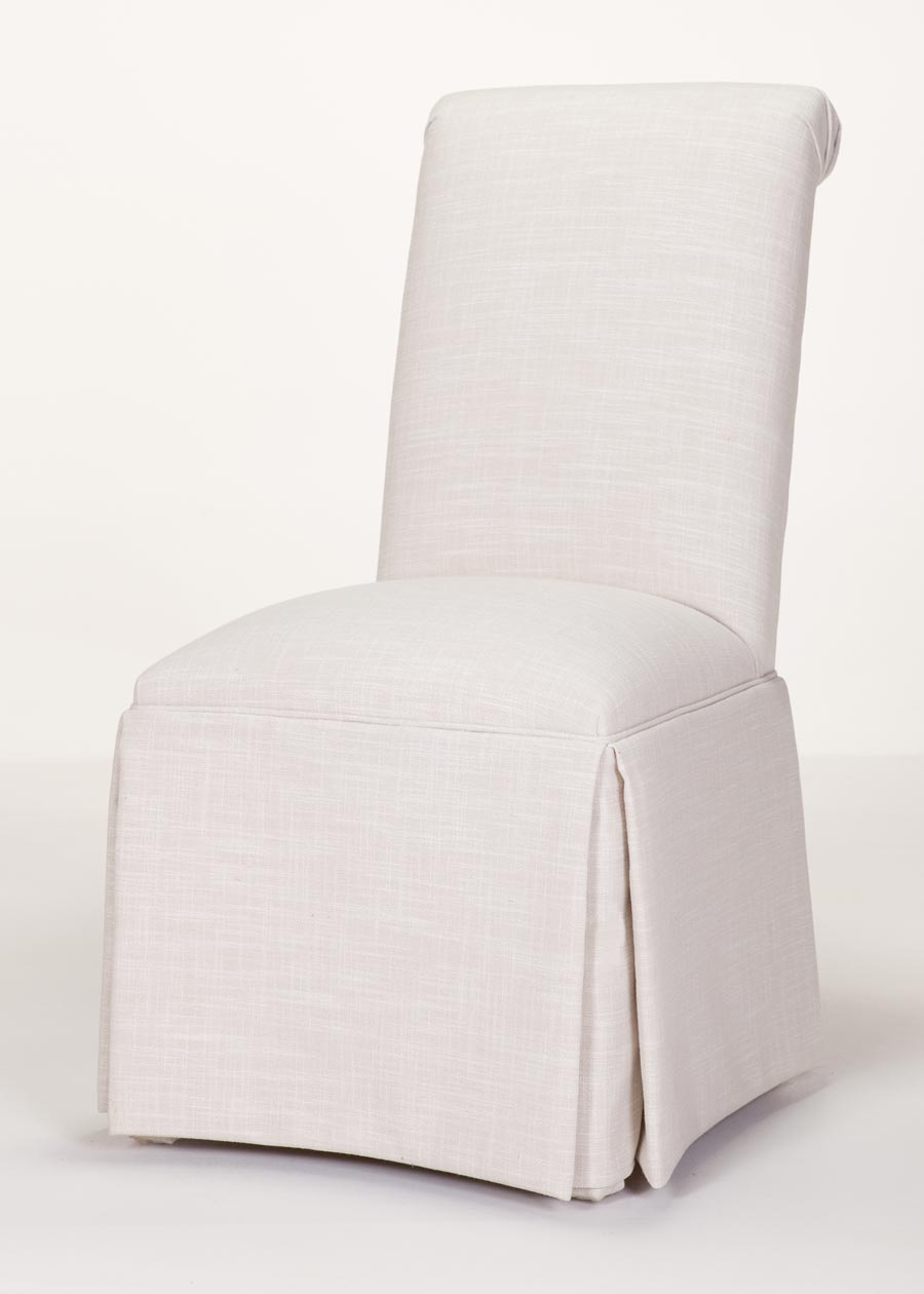 bedroom chair with skirt cosco slim fold high custom chairs delivered in days - scroll back parson kick-pleat
