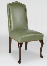 Leather Queen Anne Dining Chair with Inset Nailhead Trim