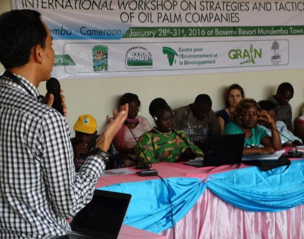Taller dedicado a las mujeres para debatir sobre las grandes compañías de palma, organizado en Camerún a principios de año.