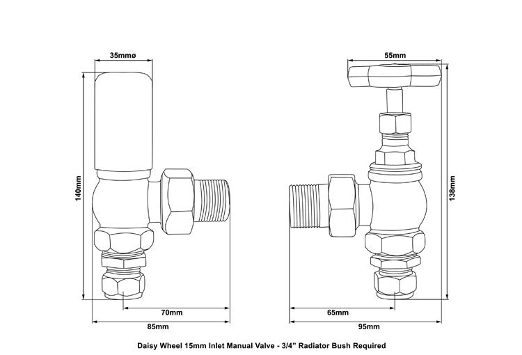 Daisy Wheel 15mm Inlet Manual Radiator Valve (Antique