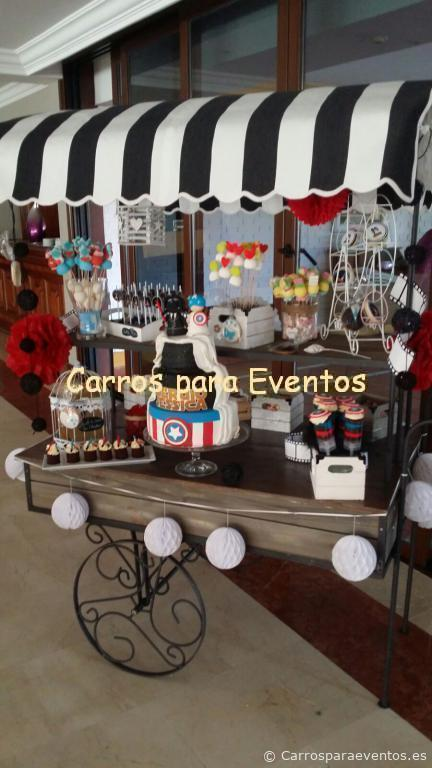Carro de madera y forja para Candy Bar  Carros para Eventos