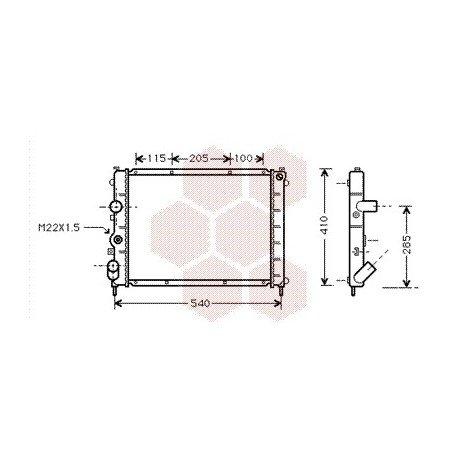 radiateur moteur pour renault clio version : 1.4 8v / 1.6