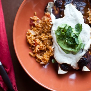 The BEST Vegan Mole Enchiladas with Easy Mexican Rice