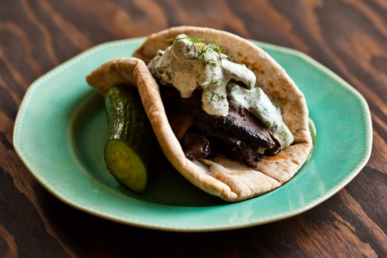 portobello gyros with hemp tzatziki