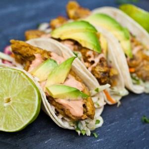 "Vegan Baja ""Fish"" Tacos with Chipotle Cream and Cilantro Lime Slaw"