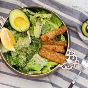 Vegan Caesar Salad with Tempeh Bacon and Hemp Seed Parmesan {Nut-free, Oil-free, GF}