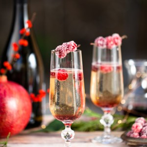 Candied Cranberry Pomegranate Prosecco Spritzers