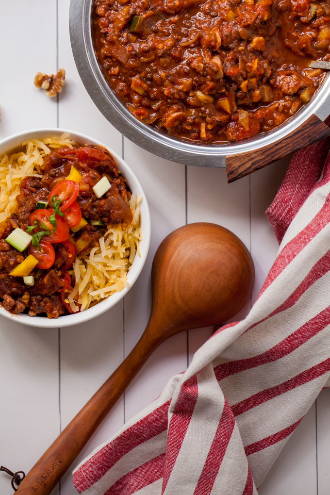 BEST EVER Vegan Bolognese! Made with hearty lentils, walnuts and tons of veggies - Packed with protein, fiber, and tons of flavor! Served over paleo rutabaga noodles - Gluten-free, freezer-friendly, and so delicious!